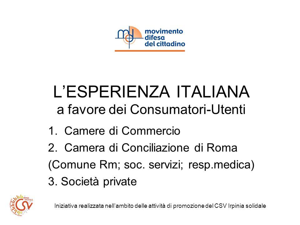 LESPERIENZA ITALIANA a favore dei Consumatori-Utenti 1.