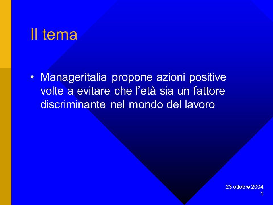 23 ottobre 2004 1 Il tema Manageritalia propone azioni positive volte a evitare che letà sia un fattore discriminante nel mondo del lavoro