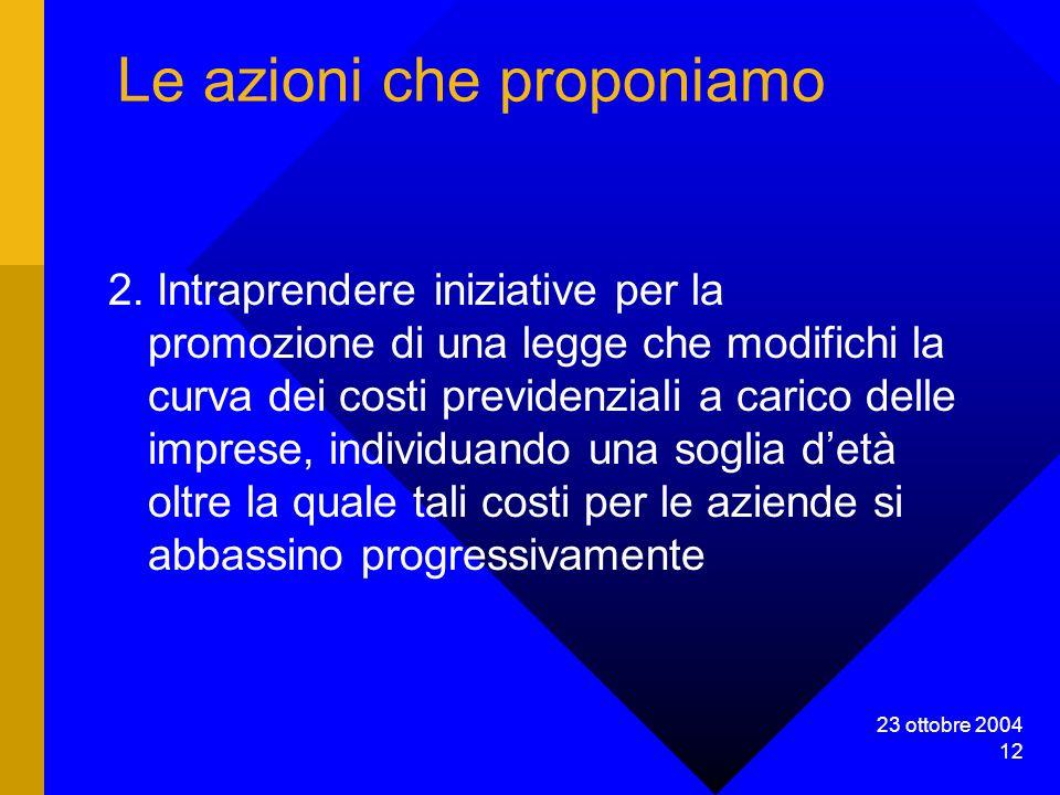 23 ottobre 2004 12 Le azioni che proponiamo 2.