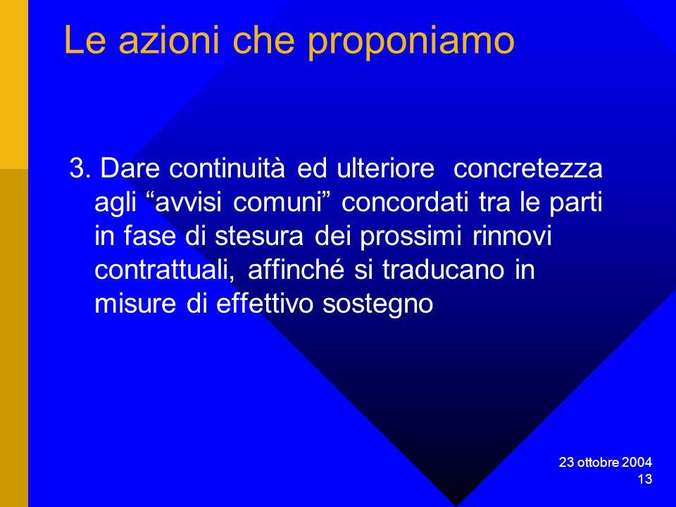 23 ottobre 2004 13 Le azioni che proponiamo 3.