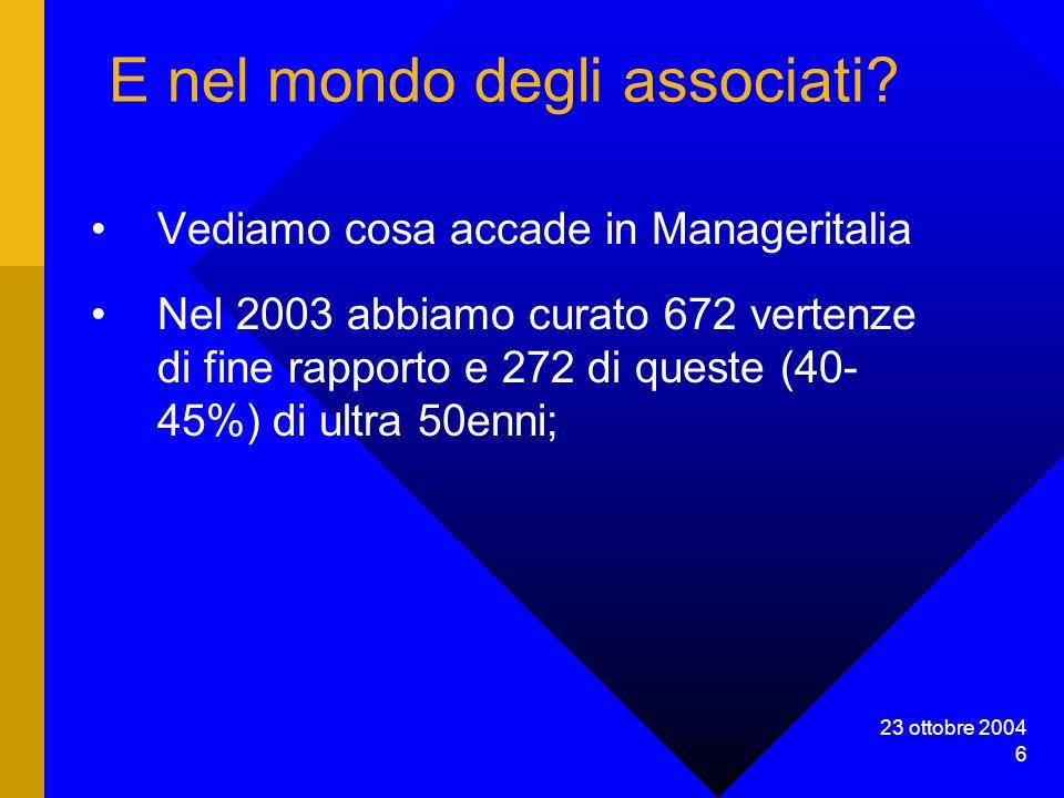 23 ottobre 2004 6 E nel mondo degli associati.