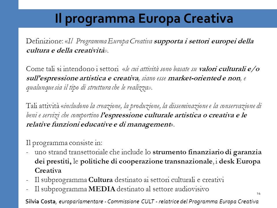 Il programma Europa Creativa Definizione: «Il Programma Europa Creativa supporta i settori europei della cultura e della creatività».