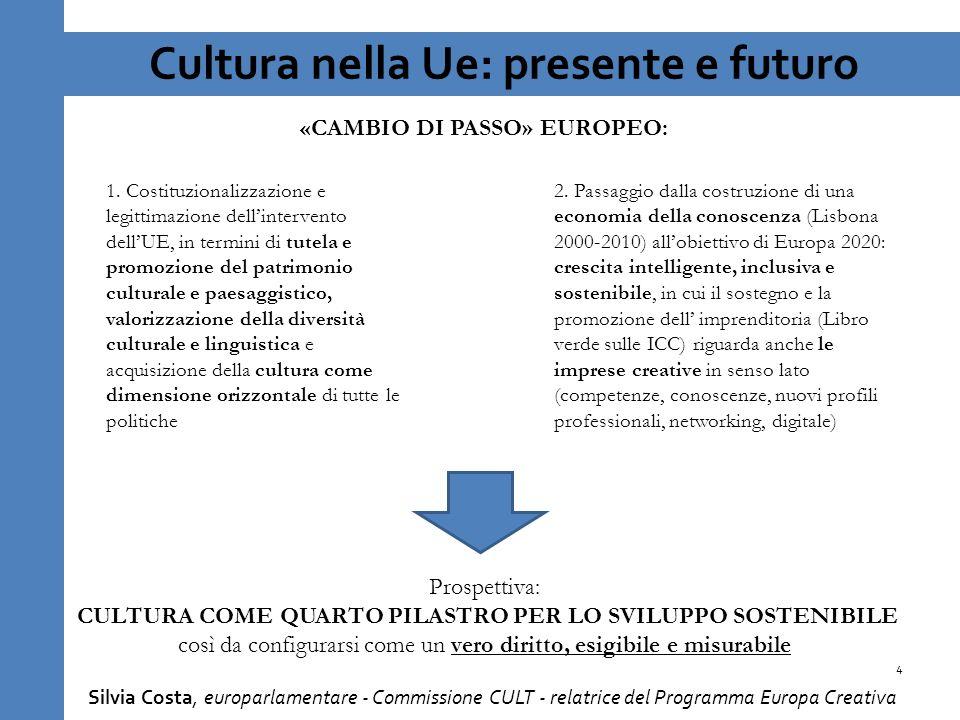 Cultura nella Ue: presente e futuro 4 Silvia Costa, europarlamentare - Commissione CULT - relatrice del Programma Europa Creativa 1.
