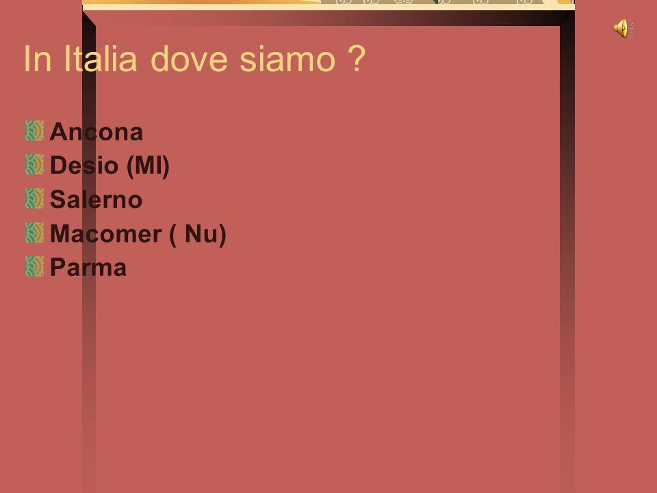 In Italia dove siamo ? Ancona Desio (MI) Salerno Macomer ( Nu) Parma