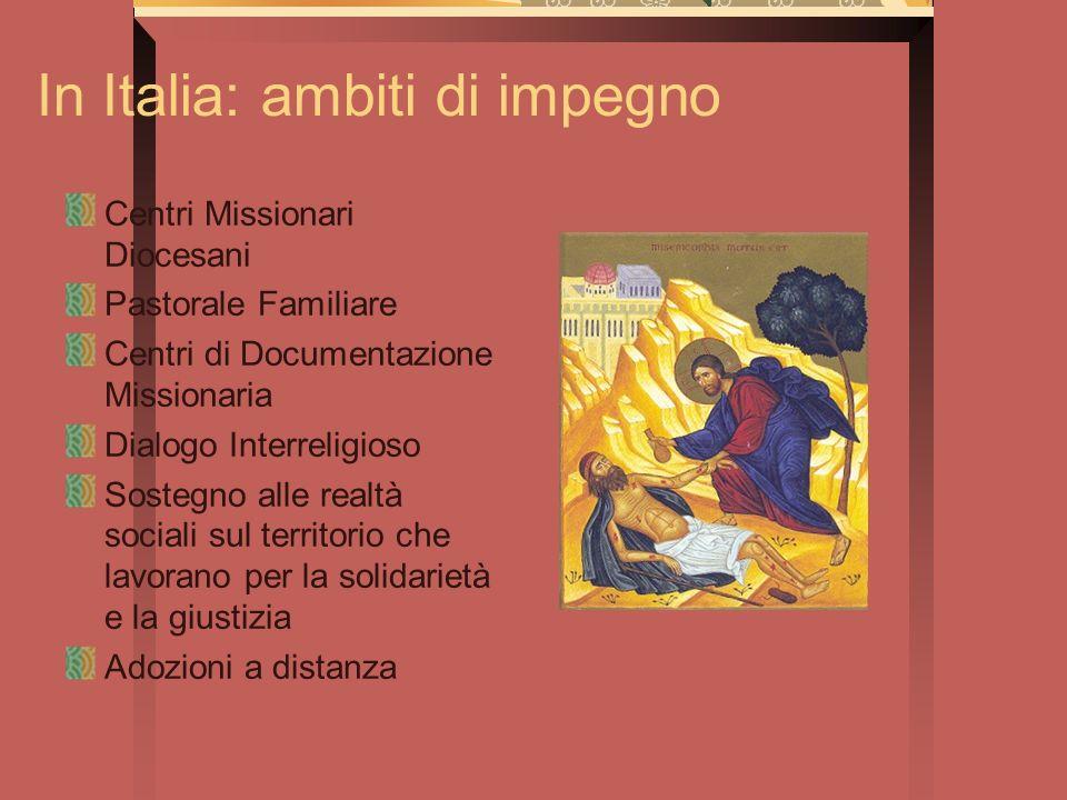 In Italia: ambiti di impegno Centri Missionari Diocesani Pastorale Familiare Centri di Documentazione Missionaria Dialogo Interreligioso Sostegno alle
