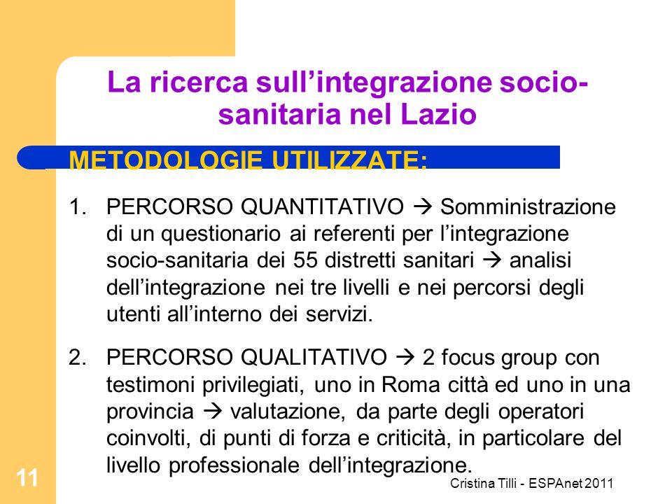 La ricerca sullintegrazione socio- sanitaria nel Lazio METODOLOGIE UTILIZZATE: 1.PERCORSO QUANTITATIVO Somministrazione di un questionario ai referent