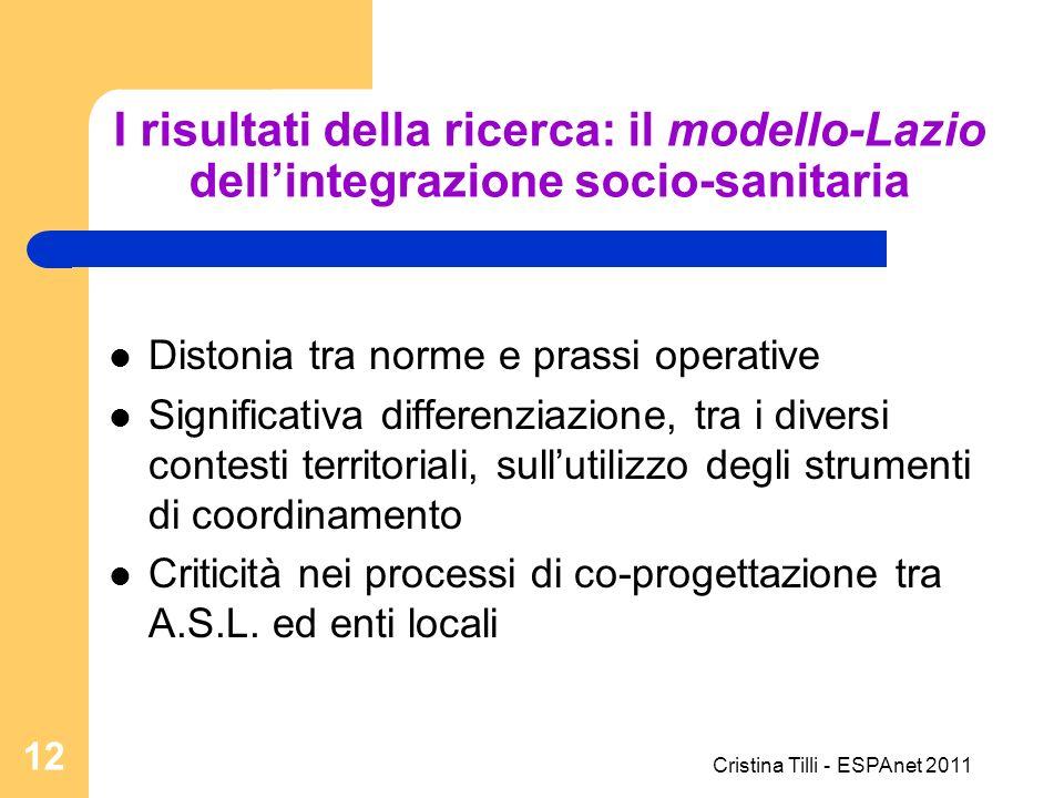 I risultati della ricerca: il modello-Lazio dellintegrazione socio-sanitaria Distonia tra norme e prassi operative Significativa differenziazione, tra