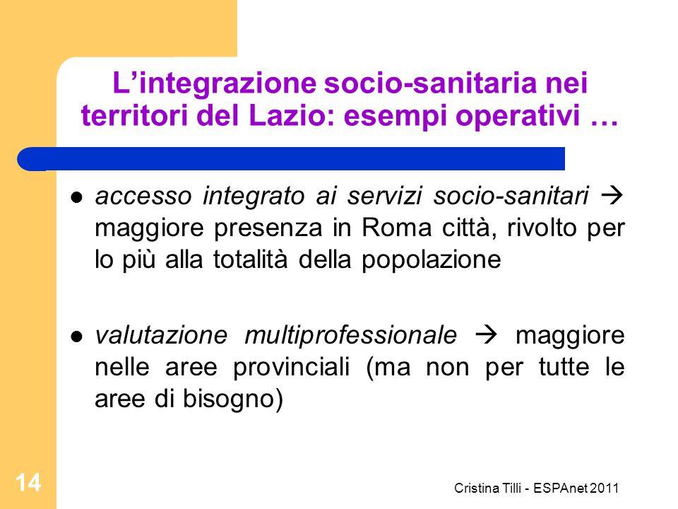 Lintegrazione socio-sanitaria nei territori del Lazio: esempi operativi … accesso integrato ai servizi socio-sanitari maggiore presenza in Roma città,