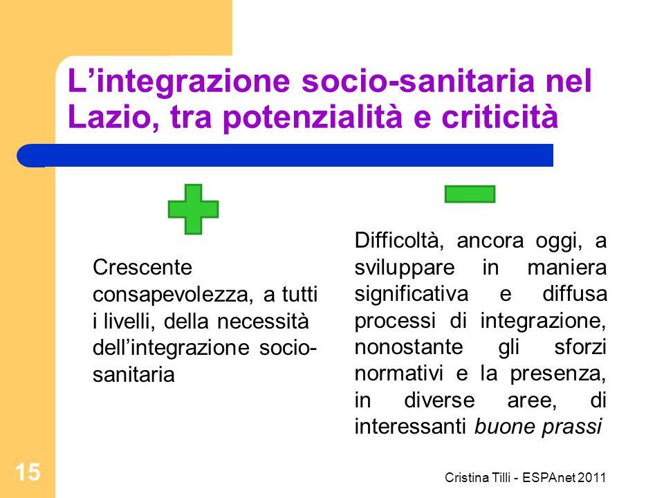 Lintegrazione socio-sanitaria nel Lazio, tra potenzialità e criticità Crescente consapevolezza, a tutti i livelli, della necessità dellintegrazione so