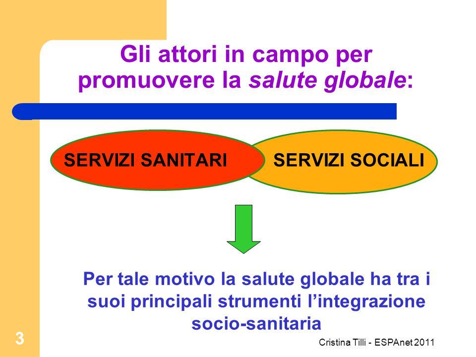 Gli attori in campo per promuovere la salute globale: SERVIZI SANITARISERVIZI SOCIALI Per tale motivo la salute globale ha tra i suoi principali strum