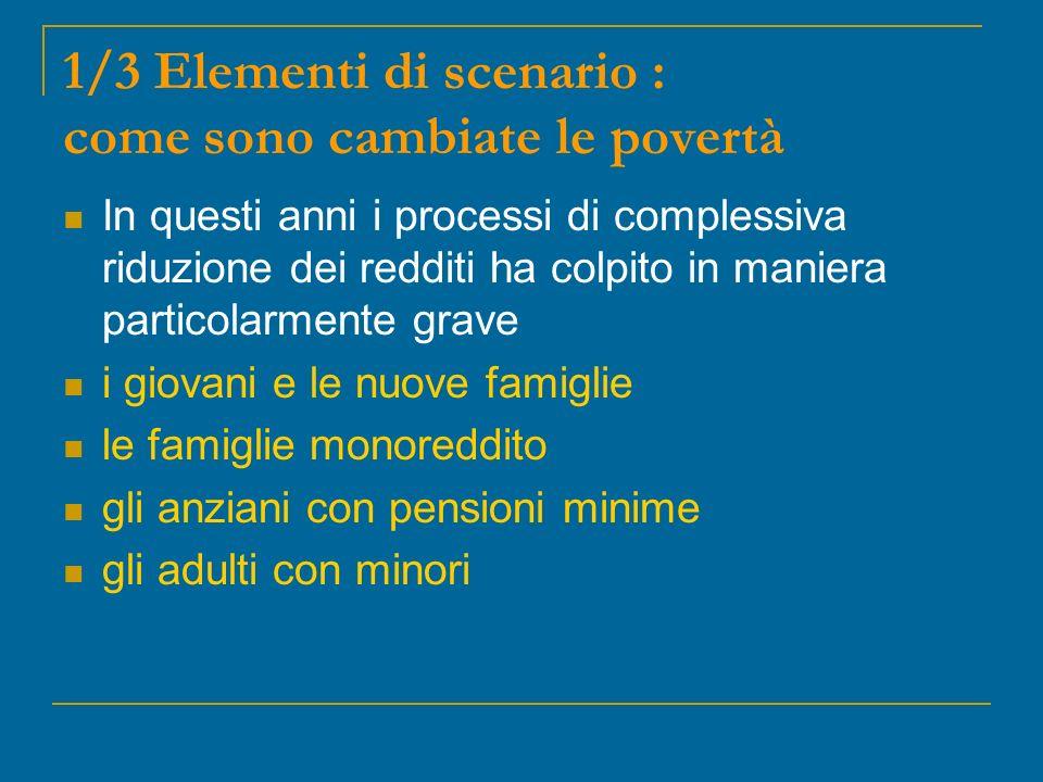 1/3 Elementi di scenario : come sono cambiate le povertà In questi anni i processi di complessiva riduzione dei redditi ha colpito in maniera particolarmente grave i giovani e le nuove famiglie le famiglie monoreddito gli anziani con pensioni minime gli adulti con minori