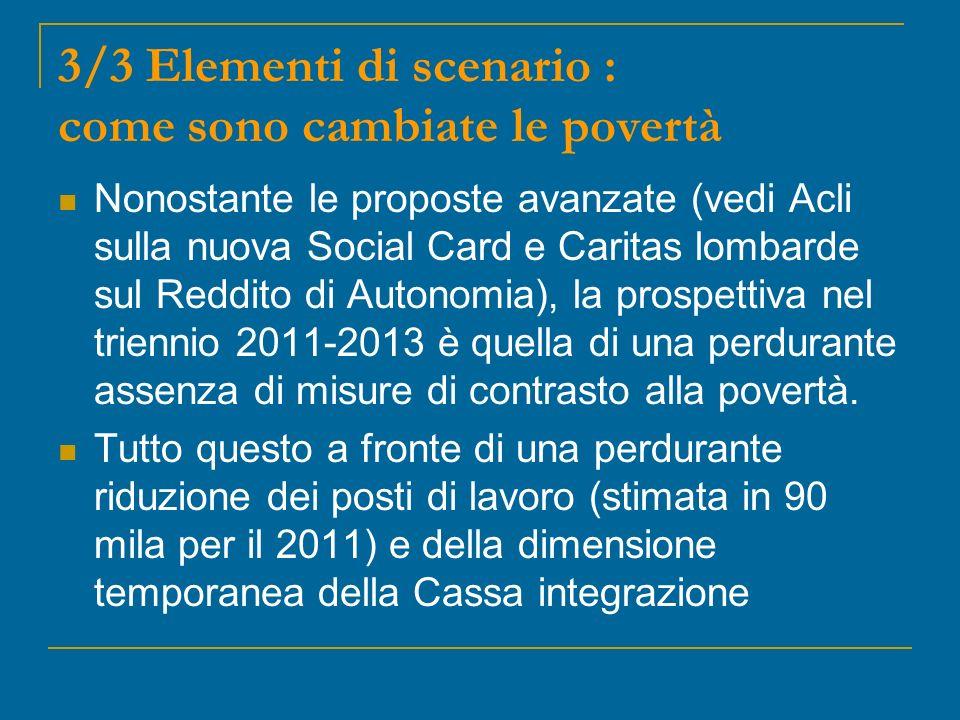 3/3 Elementi di scenario : come sono cambiate le povertà Nonostante le proposte avanzate (vedi Acli sulla nuova Social Card e Caritas lombarde sul Reddito di Autonomia), la prospettiva nel triennio 2011-2013 è quella di una perdurante assenza di misure di contrasto alla povertà.