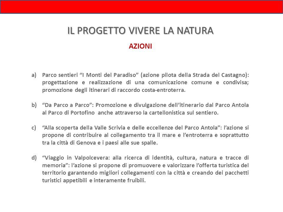 IL PROGETTO VIVERE LA NATURA AZIONI a)Parco sentieri I Monti del Paradiso (azione pilota della Strada del Castagno): progettazione e realizzazione di