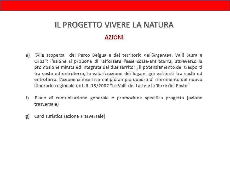IL PROGETTO VIVERE LA NATURA AZIONI e) Alla scoperta del Parco Beigua e del territorio dellArgentea, Valli Stura e Orba: lazione si propone di rafforz