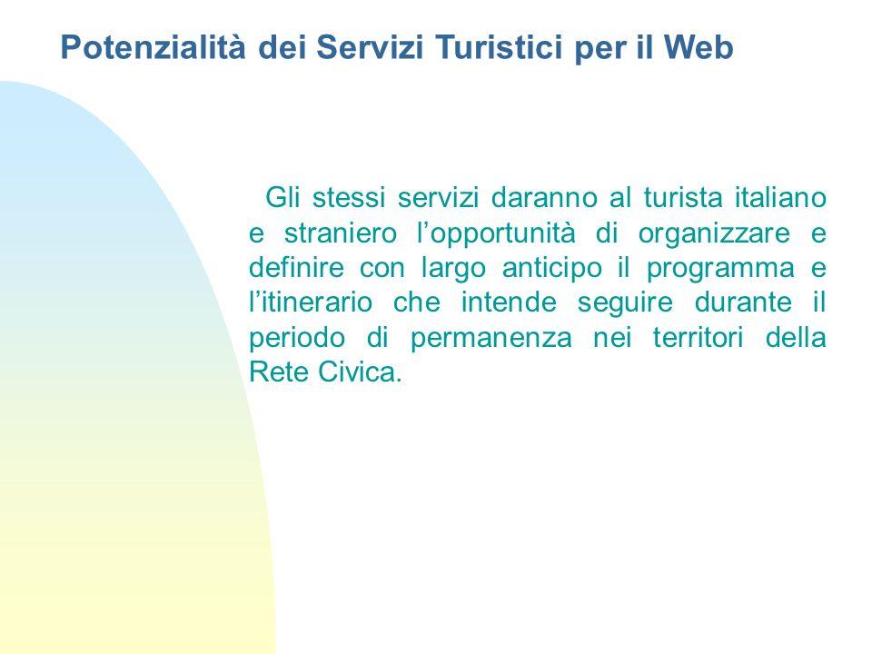 Gli stessi servizi daranno al turista italiano e straniero lopportunità di organizzare e definire con largo anticipo il programma e litinerario che in