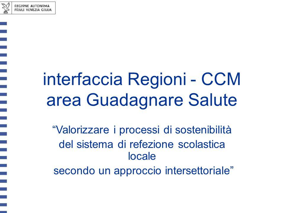 interfaccia Regioni - CCM area Guadagnare Salute Valorizzare i processi di sostenibilità del sistema di refezione scolastica locale secondo un approcc