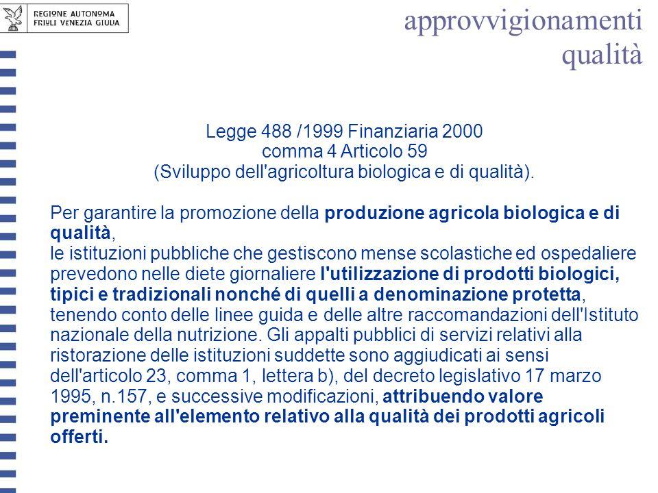 Legge 488 /1999 Finanziaria 2000 comma 4 Articolo 59 (Sviluppo dell'agricoltura biologica e di qualità). Per garantire la promozione della produzione