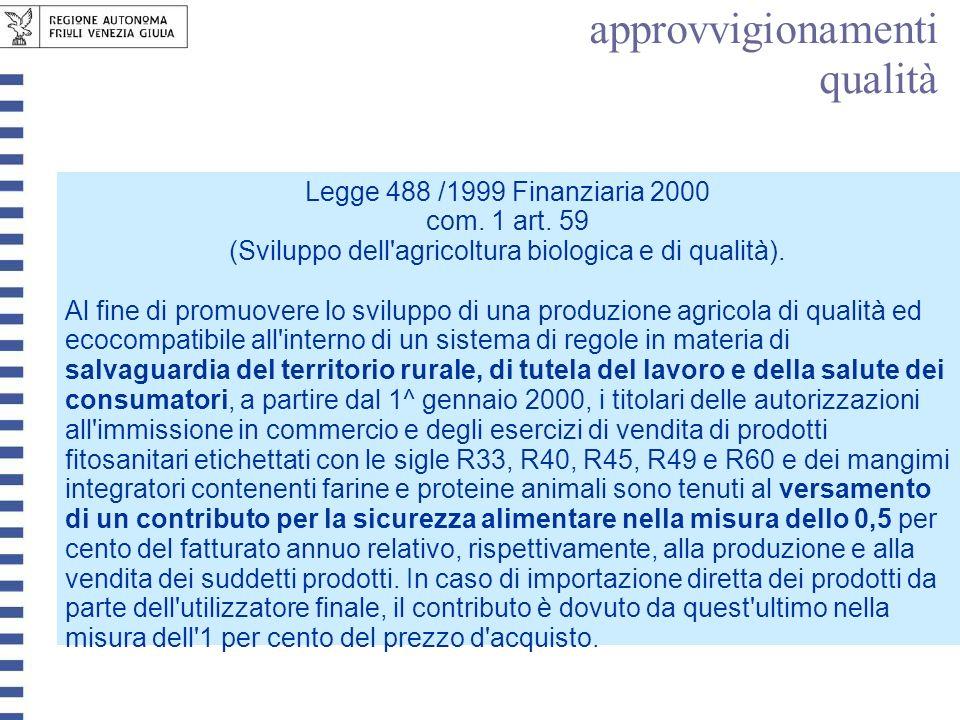 Legge 488 /1999 Finanziaria 2000 com. 1 art. 59 (Sviluppo dell'agricoltura biologica e di qualità). Al fine di promuovere lo sviluppo di una produzion