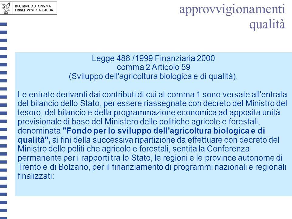 Legge 488 /1999 Finanziaria 2000 comma 2 Articolo 59 (Sviluppo dell'agricoltura biologica e di qualità). Le entrate derivanti dai contributi di cui al