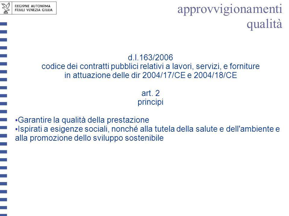 d.l.163/2006 codice dei contratti pubblici relativi a lavori, servizi, e forniture in attuazione delle dir 2004/17/CE e 2004/18/CE art. 2 principi Gar