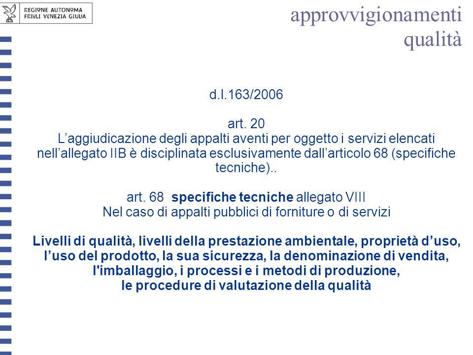 d.l.163/2006 art. 20 Laggiudicazione degli appalti aventi per oggetto i servizi elencati nellallegato IIB è disciplinata esclusivamente dallarticolo 6