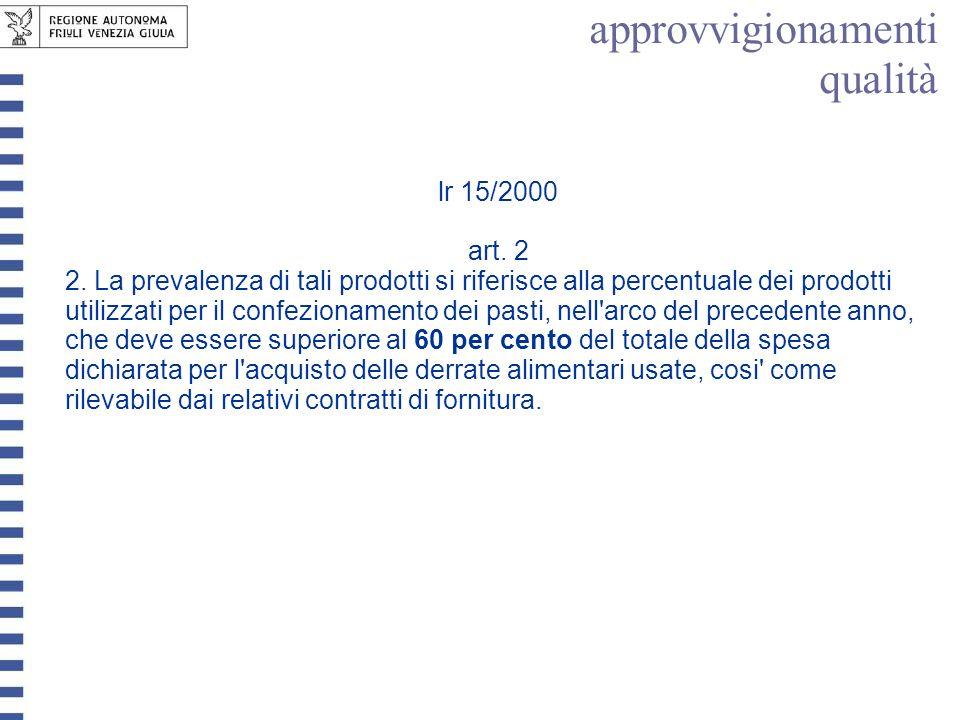 lr 15/2000 art. 2 2. La prevalenza di tali prodotti si riferisce alla percentuale dei prodotti utilizzati per il confezionamento dei pasti, nell'arco