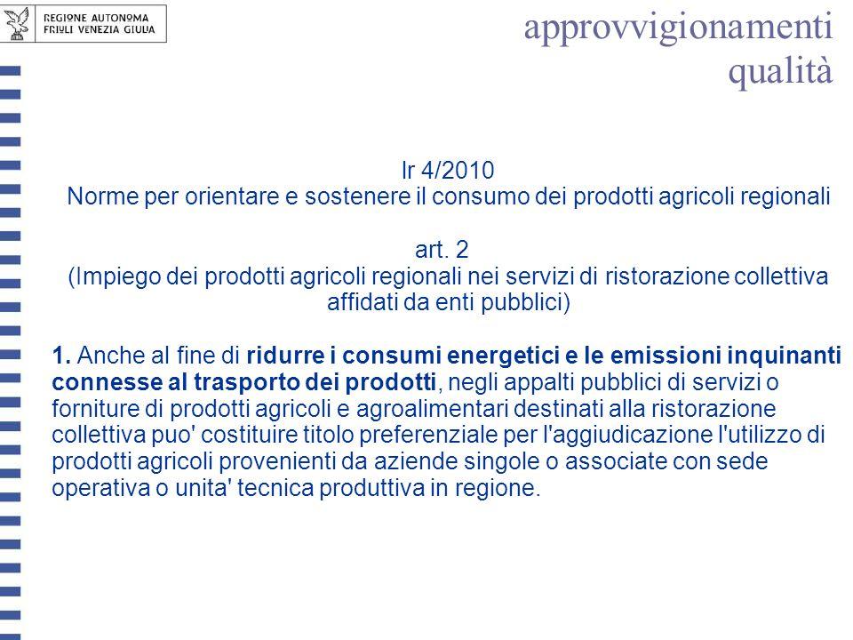 lr 4/2010 Norme per orientare e sostenere il consumo dei prodotti agricoli regionali art. 2 (Impiego dei prodotti agricoli regionali nei servizi di ri