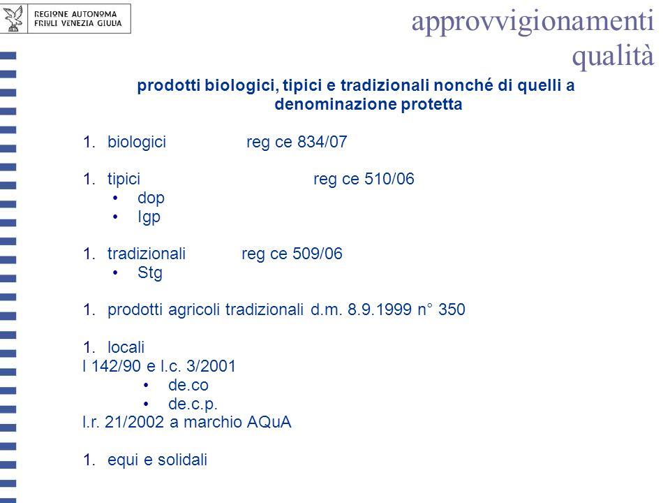 prodotti biologici, tipici e tradizionali nonché di quelli a denominazione protetta 1.biologici reg ce 834/07 1.tipici reg ce 510/06 dop Igp 1.tradizi
