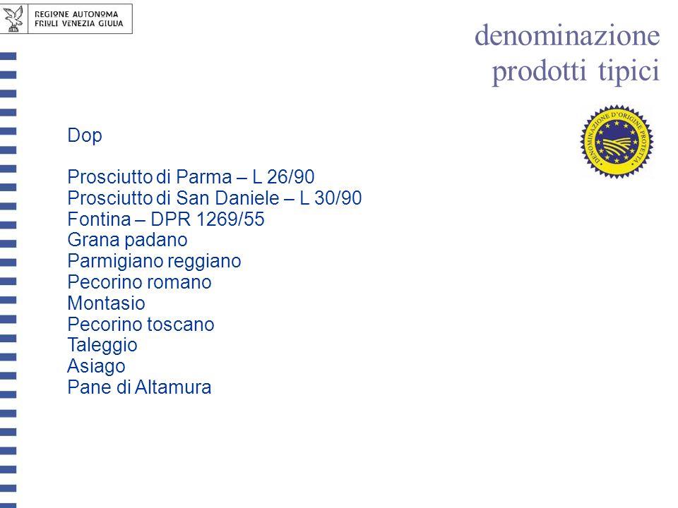 Dop Prosciutto di Parma – L 26/90 Prosciutto di San Daniele – L 30/90 Fontina – DPR 1269/55 Grana padano Parmigiano reggiano Pecorino romano Montasio