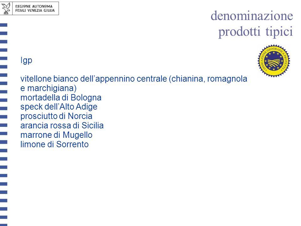 Igp vitellone bianco dellappennino centrale (chianina, romagnola e marchigiana) mortadella di Bologna speck dellAlto Adige prosciutto di Norcia aranci