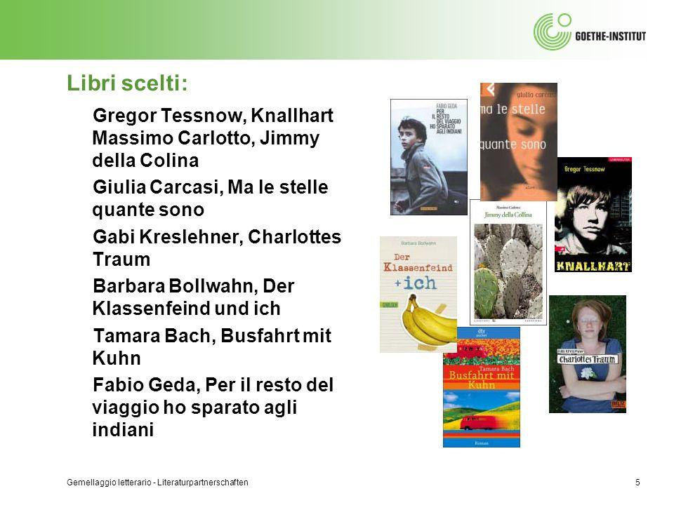 Libri scelti: Gregor Tessnow, Knallhart Massimo Carlotto, Jimmy della Colina Giulia Carcasi, Ma le stelle quante sono Gabi Kreslehner, Charlottes Trau