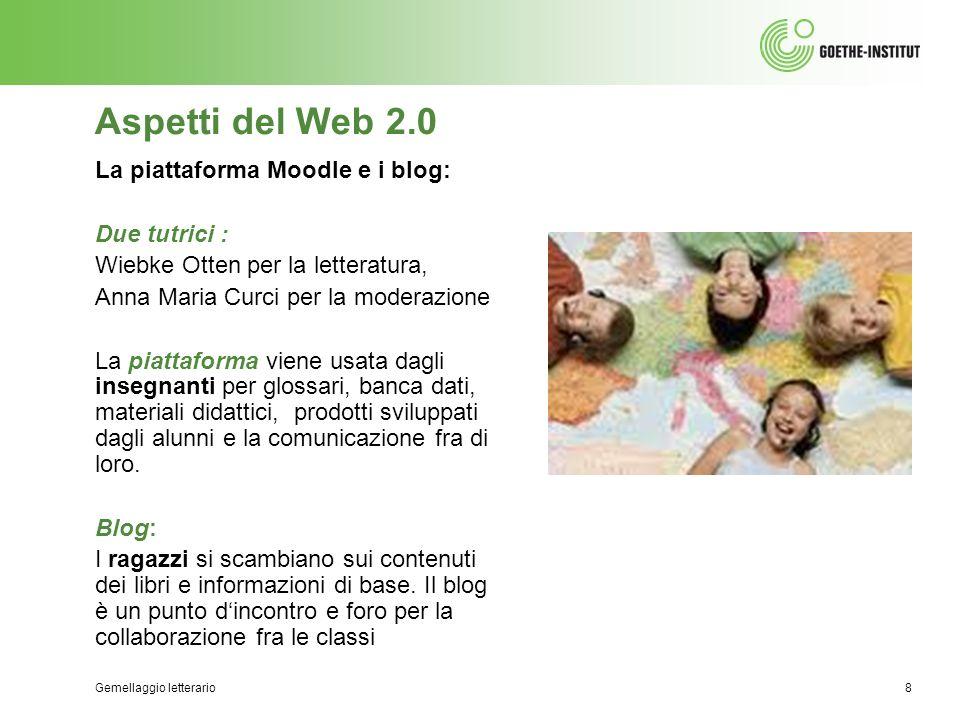 Gemellaggio letterario8 Aspetti del Web 2.0 La piattaforma Moodle e i blog: Due tutrici : Wiebke Otten per la letteratura, Anna Maria Curci per la mod