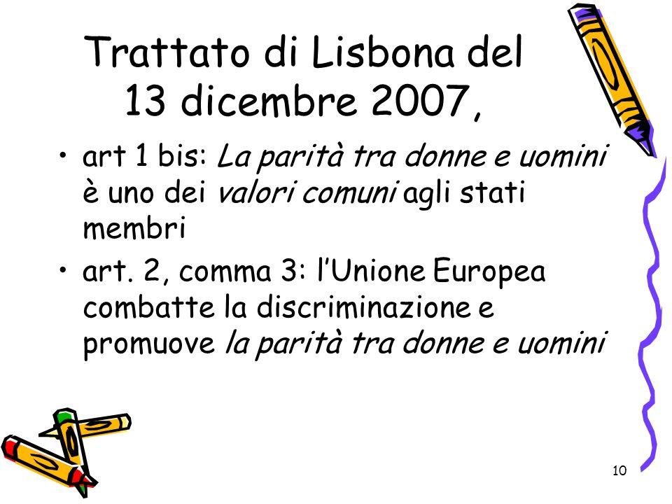 10 Trattato di Lisbona del 13 dicembre 2007, art 1 bis: La parità tra donne e uomini è uno dei valori comuni agli stati membri art. 2, comma 3: lUnion