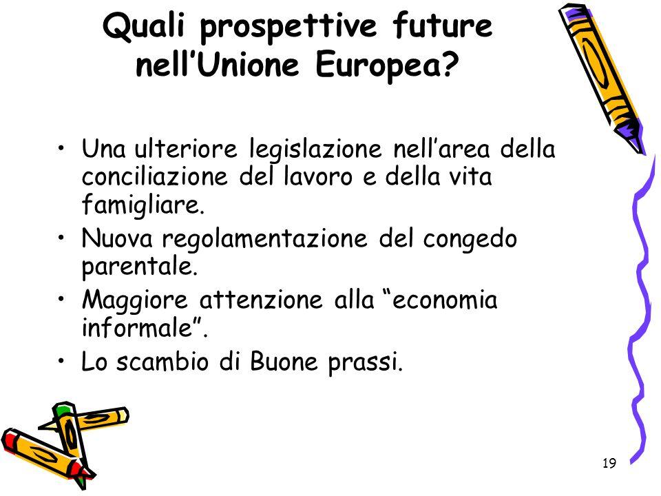 19 Quali prospettive future nellUnione Europea? Una ulteriore legislazione nellarea della conciliazione del lavoro e della vita famigliare. Nuova rego