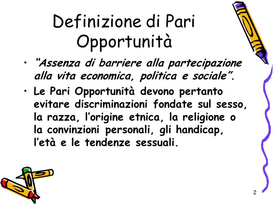 2 Definizione di Pari Opportunità Assenza di barriere alla partecipazione alla vita economica, politica e sociale. Le Pari Opportunità devono pertanto