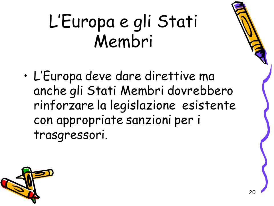 20 LEuropa e gli Stati Membri LEuropa deve dare direttive ma anche gli Stati Membri dovrebbero rinforzare la legislazione esistente con appropriate sa