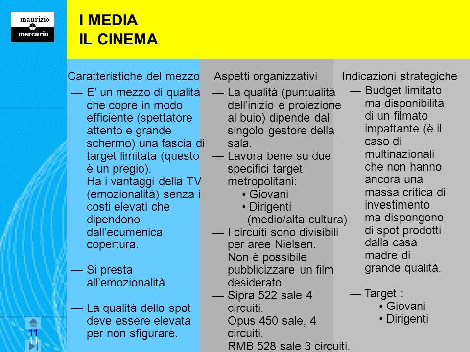 11 maurizio z mercurio 11 I MEDIA IL CINEMA Caratteristiche del mezzo Aspetti organizzativi Indicazioni strategiche E un mezzo di qualità che copre in modo efficiente (spettatore attento e grande schermo) una fascia di target limitata (questo è un pregio).