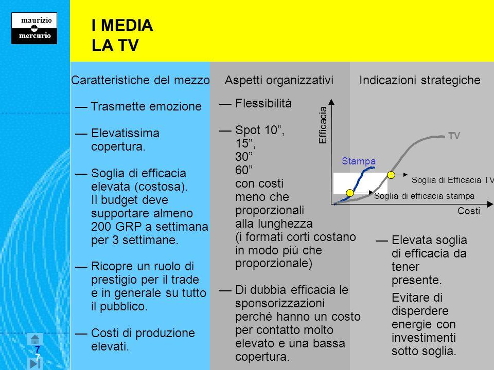 7 maurizio z mercurio 7 I MEDIA LA TV Caratteristiche del mezzo Aspetti organizzativi Indicazioni strategiche Trasmette emozione Elevatissima copertura.
