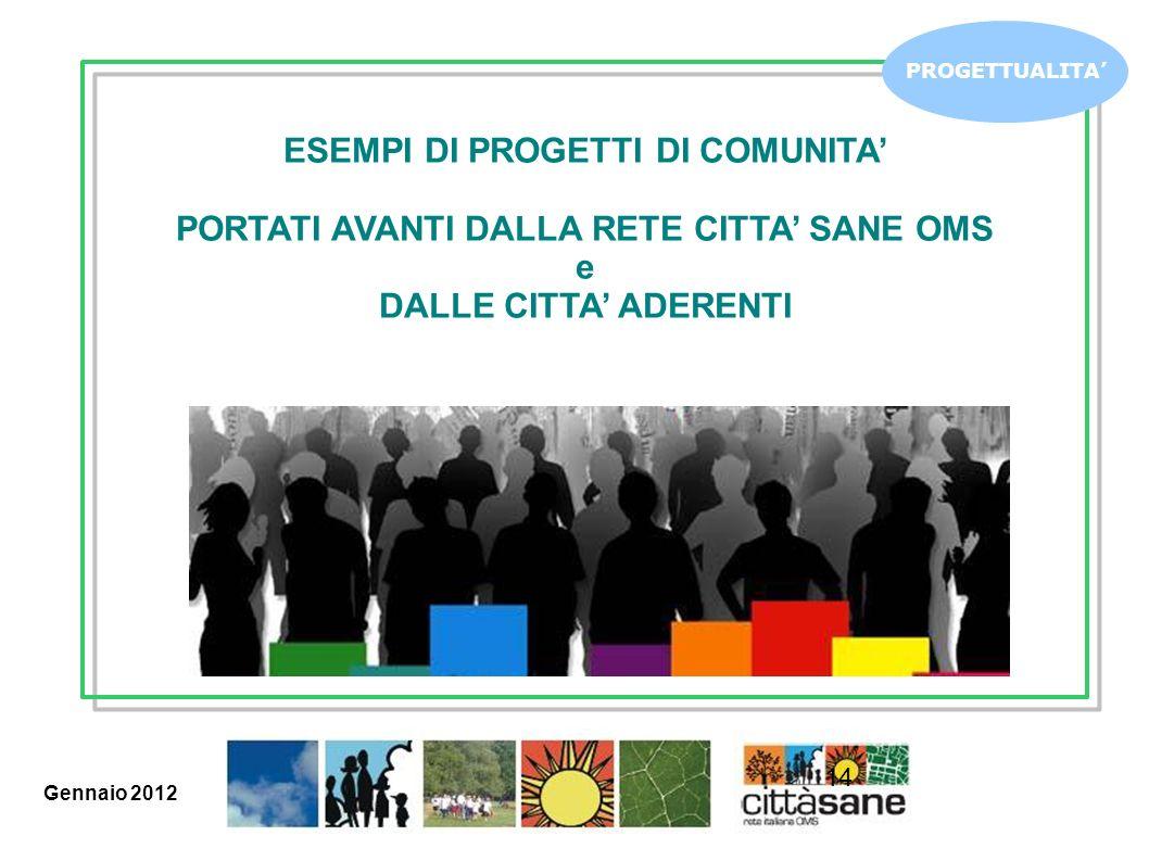 14 PROGETTUALITA ESEMPI DI PROGETTI DI COMUNITA PORTATI AVANTI DALLA RETE CITTA SANE OMS e DALLE CITTA ADERENTI Gennaio 2012