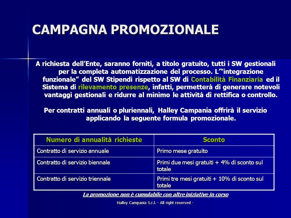 Halley Campania S.r.l. - All right reserved - CAMPAGNA PROMOZIONALE A richiesta dellEnte, saranno forniti, a titolo gratuito, tutti i SW gestionali pe