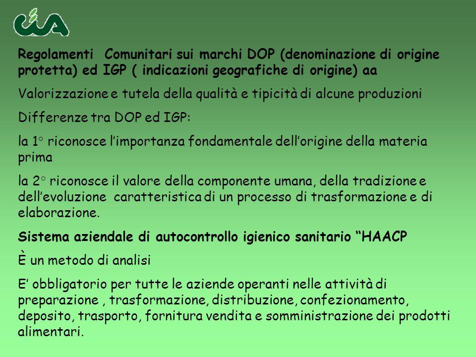 Regolamenti Comunitari sui marchi DOP (denominazione di origine protetta) ed IGP ( indicazioni geografiche di origine) aa Valorizzazione e tutela dell