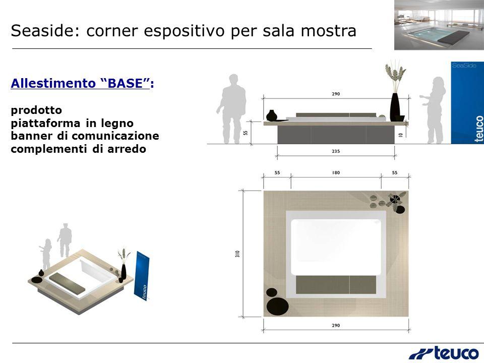 Seaside: corner espositivo per sala mostra Allestimento BASE: prodotto piattaforma in legno banner di comunicazione complementi di arredo