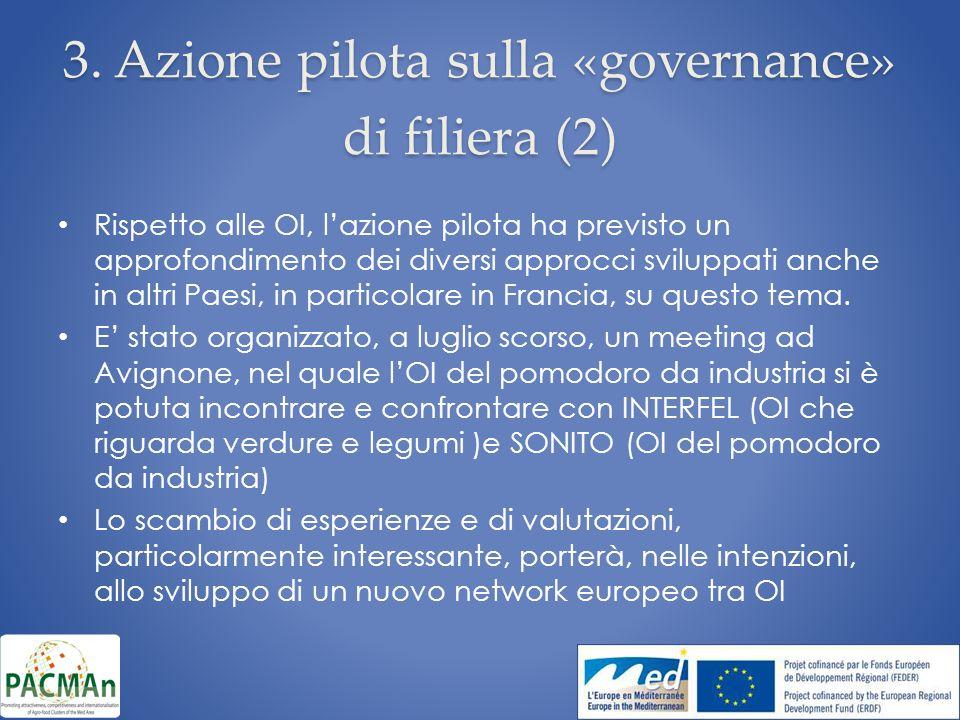 3. Azione pilota sulla «governance» di filiera (2) Rispetto alle OI, lazione pilota ha previsto un approfondimento dei diversi approcci sviluppati anc