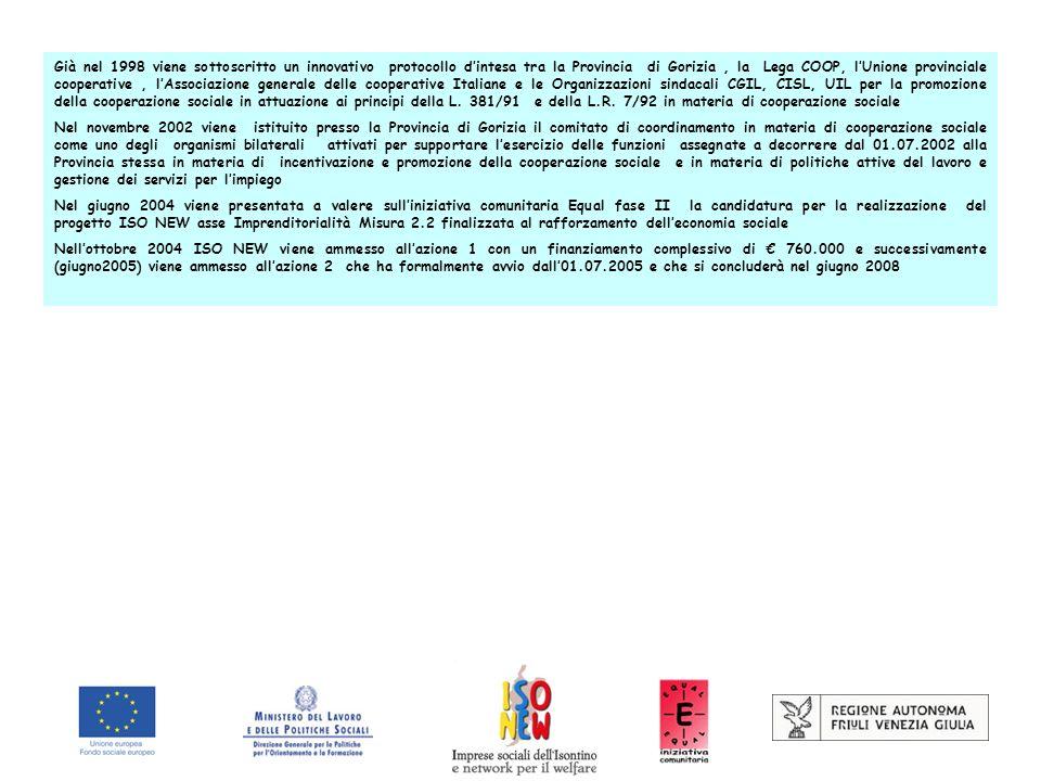 Già nel 1998 viene sottoscritto un innovativo protocollo dintesa tra la Provincia di Gorizia, la Lega COOP, lUnione provinciale cooperative, lAssociazione generale delle cooperative Italiane e le Organizzazioni sindacali CGIL, CISL, UIL per la promozione della cooperazione sociale in attuazione ai principi della L.