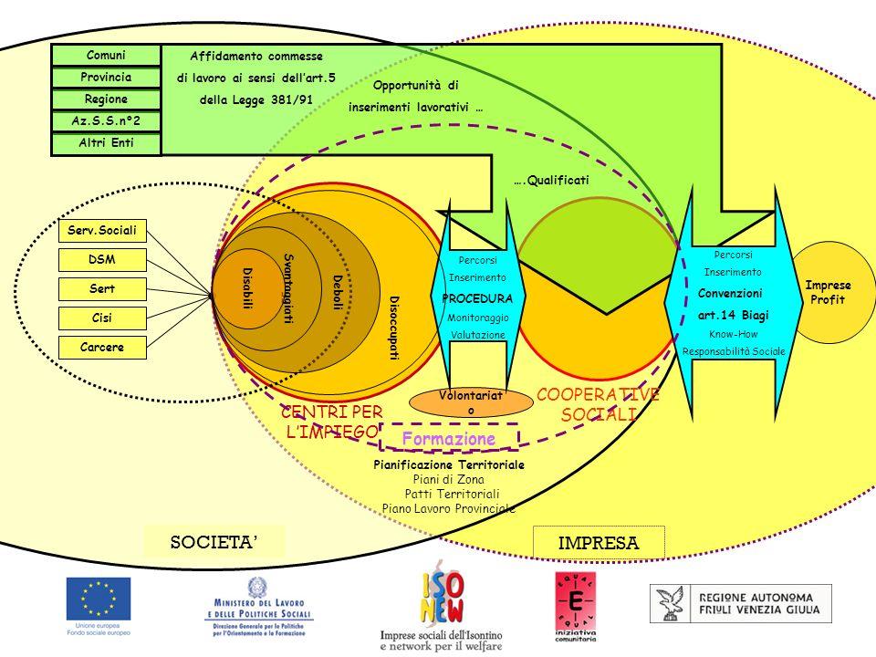 IMPRESA SOCIETA Pianificazione Territoriale Piani di Zona Patti Territoriali Piano Lavoro Provinciale CENTRI PER LIMPIEGO COOPERATIVE SOCIALI Serv.Soc