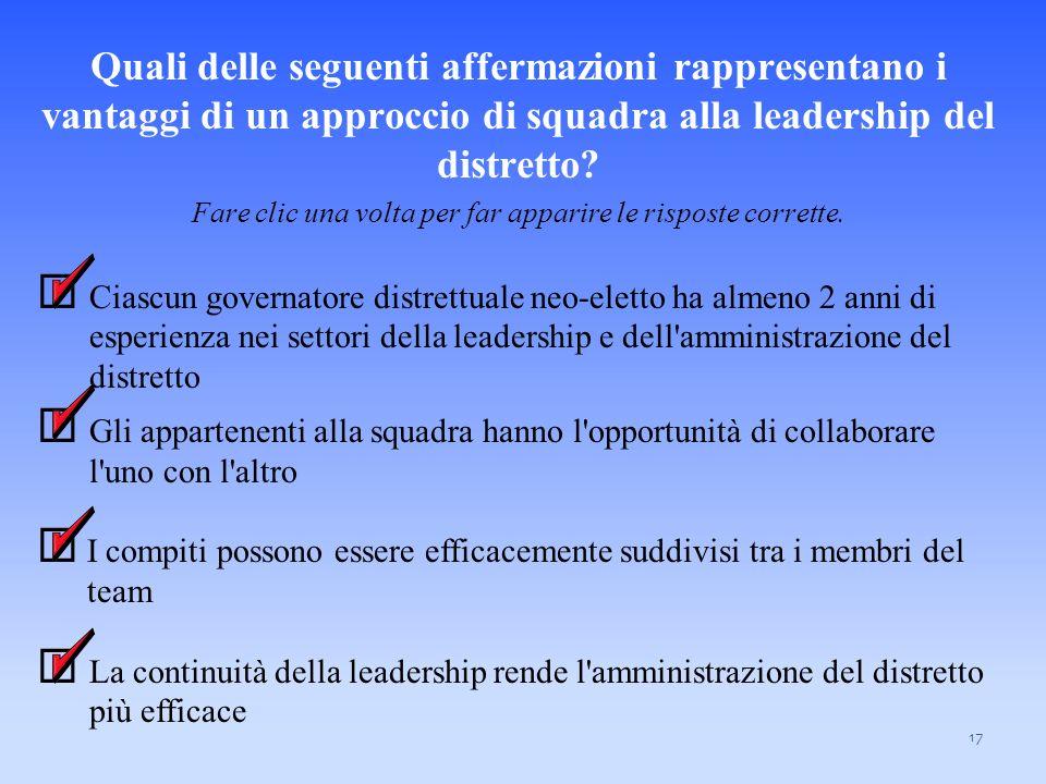 Quali delle seguenti affermazioni rappresentano i vantaggi di un approccio di squadra alla leadership del distretto? Fare clic una volta per far appar