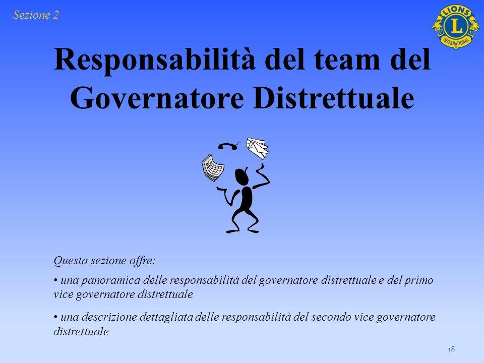 Responsabilità del team del Governatore Distrettuale 18 Questa sezione offre: una panoramica delle responsabilità del governatore distrettuale e del p