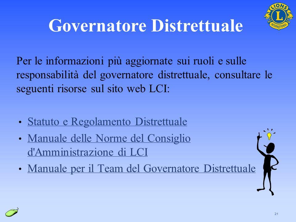 Per le informazioni più aggiornate sui ruoli e sulle responsabilità del governatore distrettuale, consultare le seguenti risorse sul sito web LCI: Sta
