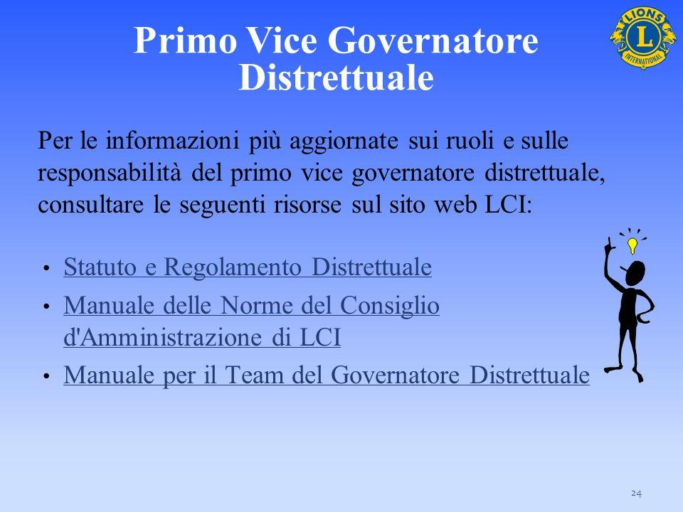 Per le informazioni più aggiornate sui ruoli e sulle responsabilità del primo vice governatore distrettuale, consultare le seguenti risorse sul sito w