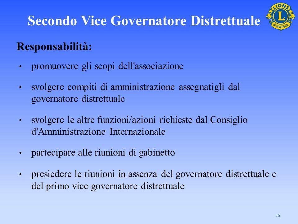 Secondo Vice Governatore Distrettuale Responsabilità: promuovere gli scopi dell'associazione svolgere compiti di amministrazione assegnatigli dal gove